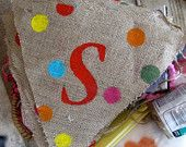 Burlap Banner-Baby Shower- Wedding-Holiday-Birthday- Polka Dot Banner- Any Saying-Any Size Any Color