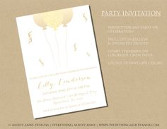 birthday party invitation, surprise party, glitter invitation, gold invitation, balloon invitation, confetti, gold, 1st birthday, first birthday, baby birthday, girl birthday, boy birthday, event, invitation, party