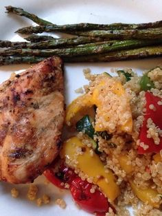 "THM E-- The other night for dinner we had grilled chicken breasts (boneless, skinless) with grilled bell peppers, zucchini, and asparagus tossed into quinoa. I made the quinoa with turkey stock I made myself, garlic, salt, pepper, cans onion flakes. It was SO good, filling, and ""meat and potatoes""-husband approved."