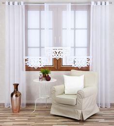 pl for PLN – Panel AŻUR Firana AŻUROWA + FREE ! Cream Curtains, Interior Decorating, Interior Design, Windows And Doors, Entryway Bench, My Dream Home, Accent Chairs, Furniture, Home Decor