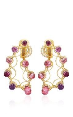 Pink Sapphire And Diamond Paisley Ear Clips by Nicholas Varney for Preorder on Moda Operandi