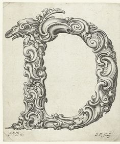 Letter D by Jan Chrystian Bierpfaff + Jeremiasz Falck, 1656 Monogram Letters, Letters And Numbers, Alphabet Letters, Lettering Design, Hand Lettering, Vintage Lettering, Image Digital, Stencils, Illuminated Letters