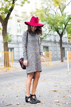 Long Sleeve Shirt Dress + Fun Flat Boots + Bright Brimmed Hat
