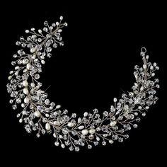 Freshwater Pearls and Swarovski Crystal Hair Vine – La Bella Bridal Accessories Swarovski Crystal Beads, Crystal Rhinestone, Prom Hair Accessories, Hair Beads, Wedding Headband, Hair Vine, Hair Jewelry, Wedding Jewelry, Austrian Crystal