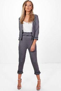 #boohoo Frill Detail Trouser - charcoal DZZ52946 #Ellie Frill Detail Trouser - charcoal