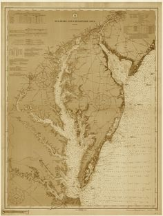 Chesapeake Bay and Delaware Bay Historical Map - 1912