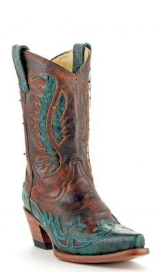 Womens Corral Vintage Boots Tan And Turquoise #R2520 via @Allens Boots