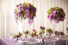 Purple and green arrangements