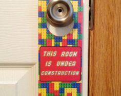 Lego Brick Kid's Room Door Sign and Dry Erase Board