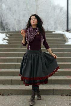 Купить Двойная юбочка в стиле бохо, серая с бордовым кружевом - бохо-юбка