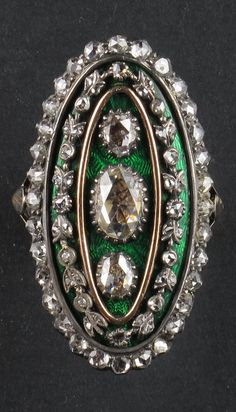 An antique gold, silver, enamel and rose-cut diamond ring, French, 19th century. #antique #ring