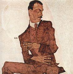 Egon Schiele painting of Arthur Roessler. Schiele was a protogé in Gustav Klimt's studio.