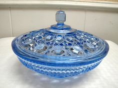 Indiana candy bowl Indiana Glass Windsor by TreasuresFromTexas Candy Bowl, Candy Dishes, Blue Bowl, Glass Molds, Indiana Glass, Crystal Collection, Carnival Glass, Cut Glass, Milk Glass