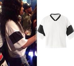 Rihanna at Hooray Henry's wearing T by Alexander Wang cropped football jersey, Levi's grommet shorts, MALA by Patty Rodriguez Where you from necklace