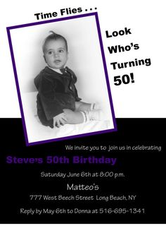 50th Birthday Invitations Adult Photo Invite by HandprintDesign, $15.00