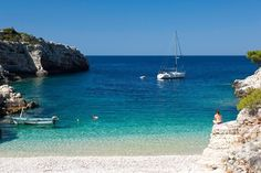 A beach on the island of Vis, Croatia, washed by the cleanest seas in the Mediterranean