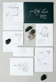 Stunning minimal black and white modern calligraphy wedding invitation suite
