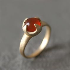 Thorny Cab Ring in Brass with Carnelian by MichelleChangJewelry, $98.00