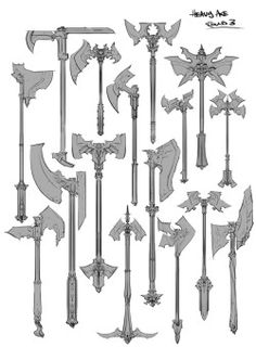 Sometimes your job requires you to draw a fuck-ton of axes. Anime Weapons, Fantasy Weapons, Larp, Axe Drawing, Armadura Medieval, Sword Design, Battle Axe, Medieval Weapons, Prop Design