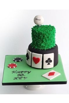 Our custom celebration cakes gallery will inspire your next birthday cake, bridal shower cake, or other special event cake. Golf Themed Cakes, Themed Birthday Cakes, 50th Birthday, Golf Cakes, Poker Cupcakes, Poker Cake, Sport Cakes, Pamper Party, Casino Cakes