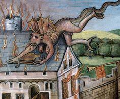flamethrowing devil Histoire ancienne jusqu'à César, Flanders ca. 1470-1480 Rouen, Bibliothèque municipale, ms. 1139, fol. 134r