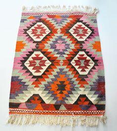 Sukan / VINTAGE Turkish Kilim Rug Carpet  handwoven kilim by sukan, $380.00
