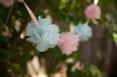 POM POM GARLAND blue and pink tulle garland childrens decoration christening decoration fairy party decoration baby shower bunting