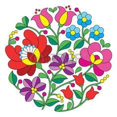 Kalocsai broderie - motif floral folklorique hongroise ronde photo                                                                                                                                                                                 Plus