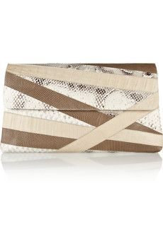 Nancy Gonzalez | Patchwork crocodile, python and water monitor clutch | NET-A-PORTER.COM
