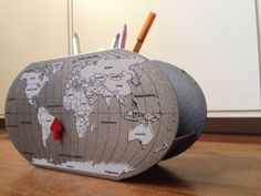 Porta Lápis Metal Mapa Mundi com Imã