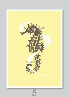 Sea horse art print nursery decor kids nautical by Vinspiro, $18.00