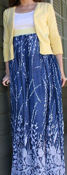 High waist maxi skirt sewing tutorial- I really like this material and color combination!