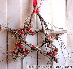Nordic Birch Star - Winter Wreath - Christmas Decor - Star