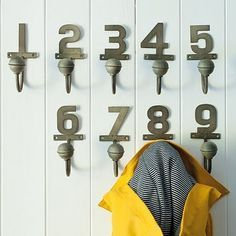 coat hooks with numbers - Google Search