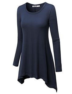 Women's Tunics - LL Womens Long Sleeve Asymmetrical Hem Trapeze Tunic Top  Made in USA ** Learn more by visiting the image link.