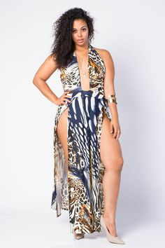 EXTRAVAGANT ANIMAL PRINT SLIT DRESS $40.99