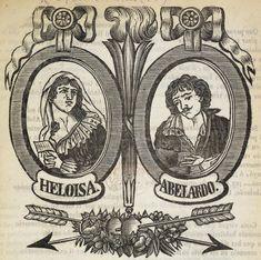 Xilografía alusiva en cabecera de una mujer y un hombre, son Eloísa y Abelardo con sus nombres y unas flechas entrelazadas, bajo sus retratos en forma ovalada