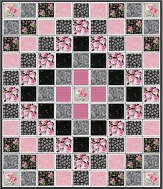 Evening in Paris Trip Around The World Quilt Kit Black Grey Pink Roses .