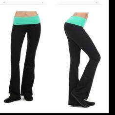 Coming Soon -- Yoga Pants Yoga Pants with mint waistband and black legs. Yoga Pants Leggings