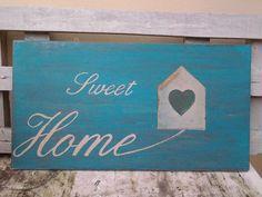 Pannello dipinto a mano con scritta sweet home di RealHouseRavenna, €18.00