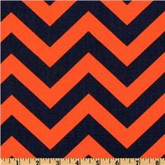 Orange and navy chevron.  I think I'm going to spray paint my wire patio chair bronze (or copper?) and make an accompanying pillow out of this.