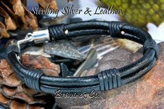 2B-810 Aussie Made Sterling Silver & Leather Wristband Handmade Men Bracelet.