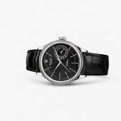 Luxury Rolex Cellini Date White Gold Black Watch 50519-0007