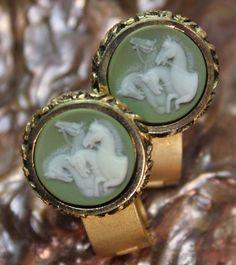 Vintage Cufflinks Museum Masterpiece Cameo Dante Equidae Quattor Horses Museo #Dante