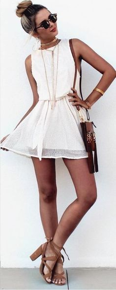 #summer #girly #outfitideas | Ivory Mesh Dress