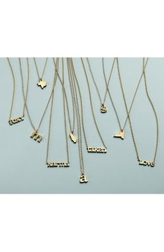 Gold state necklaces. (California, New York, Texas, etc.)