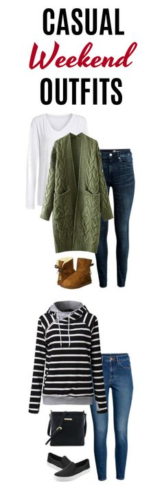 4 casual weekend outfits that are still stylish - Ahhhh winter weekends. Aren't they great? Usually, our schedules slow down a bit and we have more time to relax. Well, you can do so in style with this olive green cozy cardigan, soft, fluffy boots and basic white long sleeve tee. #outfits #outfitideas #winterfashion #winteroutfits