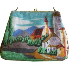 Early 1900s Scenic Beaded Bag Purse Buildings & Mountains