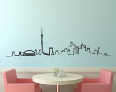 Skyline Wall Decal Toronto Skyline Vinyl wall decal by Zapoart, $44.00 Glasses Sketch, Skyline Tattoo, Toronto Skyline, Mural Art, Murals, Cityscape Art, Geometric Wall, Summer Diy, Diy Room Decor