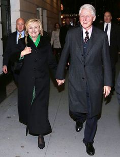 "Former Secretary of State Hillary Rodham Clinton and former President of the United States Bill Clinton attend a showing of ""The Last Ship"" after the ""Saturday Night Scream Christmas Carols"". Get premium, high resolution news photos at Getty Images Bill And Hillary Clinton, Hillary Rodham Clinton, Coat Drive, The Last Ship, John Stamos, Patrick Dempsey, Former President, Us Presidents"